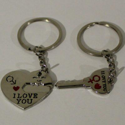 Брелок сердце с ключиком для двоих