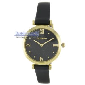 Женские наручные часы Guardo 12333-3 золотой корпус, чёрный циферблат
