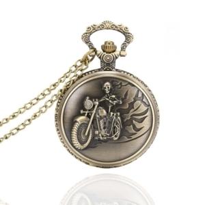 Карманные часы с гравировкой скелета и мотоцикла на крышке