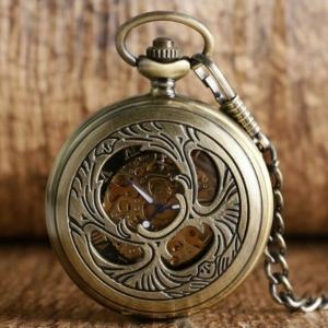 Механические карманные часы с ангелом на крышке