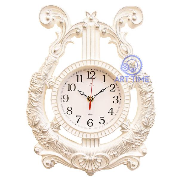 Часы настенные Рубин в форме Арфы 28х37см, корпус белый с серебром Классика 2837-004
