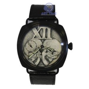 Марьяж механических часов Молния 3602, чёрный корпус в стиле Panerai, циферблат с черепами