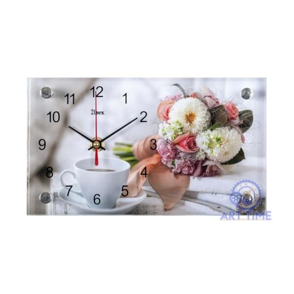 Настольные часы 21 век 1323-637, Чайная пара и цветы