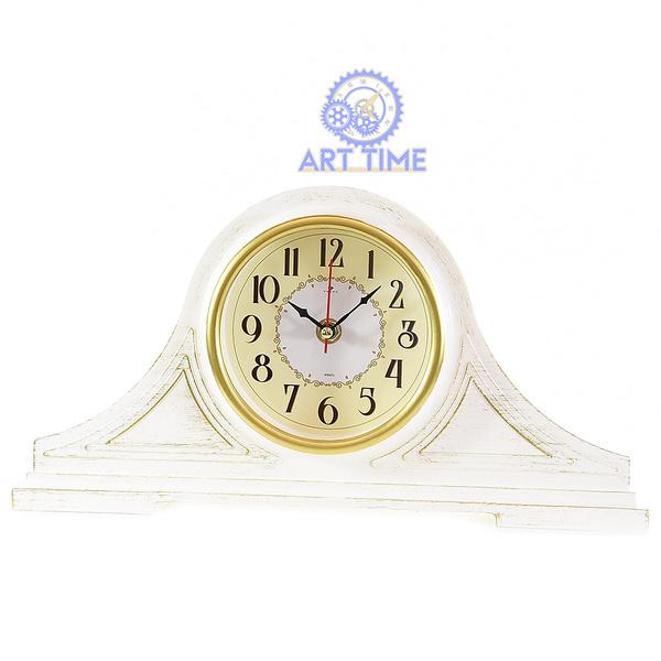 Настольные часы Рубин 1834-001, корпус белый с золотом Классика, размер 35х18 см