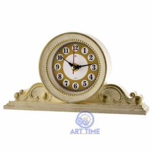Настольные часы Рубин 2514-007, корпус белый с золотом Классика, размеры 26х14 см