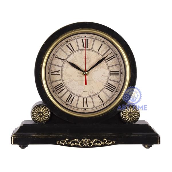 Настольные часы Рубин 3026-005, корпус черный с золотом Классика с римскими цифрами, размеры 30х26 см