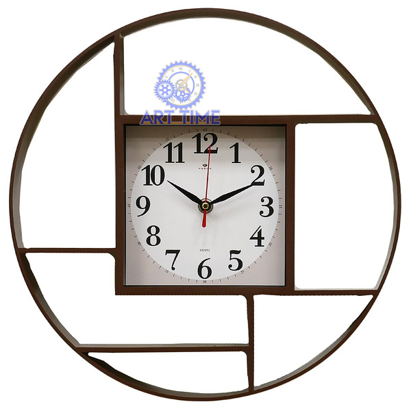 Настенные часы Рубин круглые d=35 см, корпус коричневый Классика 3516-001 (10)