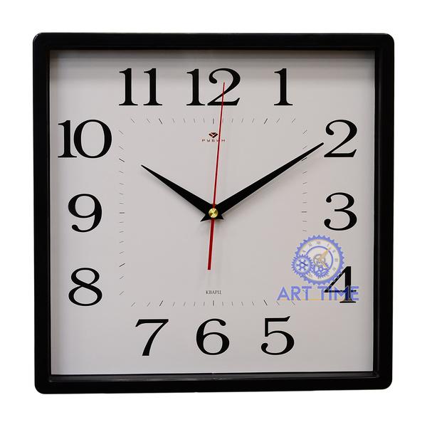 Настенные часы Рубин квадрат 30х30см, корпус черный Классика 3028-001B (10)