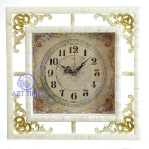 Настенные часы Рубин, коричневые с золотым узором Кружево 3930-004