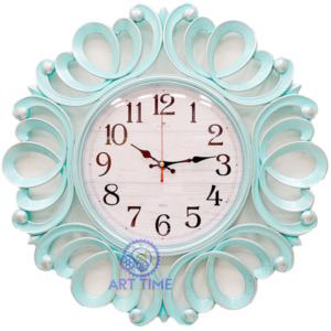 Настенные часы Рубин круг ажурный d=45,5 см, корпус бирюзовый с серебром Классика 4522-002 (10)