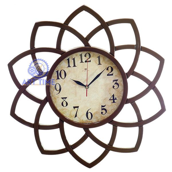 Настенные часы Рубин, круг с лепестками d=49,5см, корпус коричневый Ретро цветы-1 5046-101