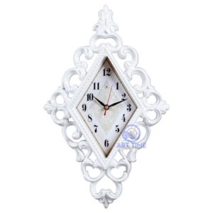 Настенные часы Рубин ромб 30х48см, корпус белый Классика с узором 4830-100 (5)