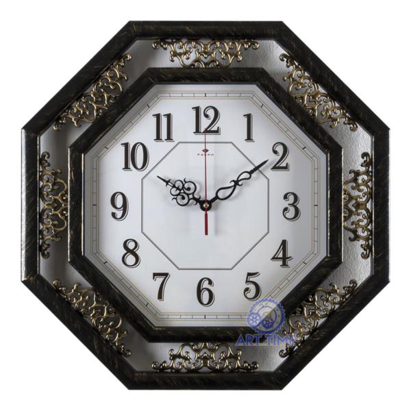 Настенные часы Рубин, восьмиугольные 45х45см, корпус черный с золотом Классика 5045-103