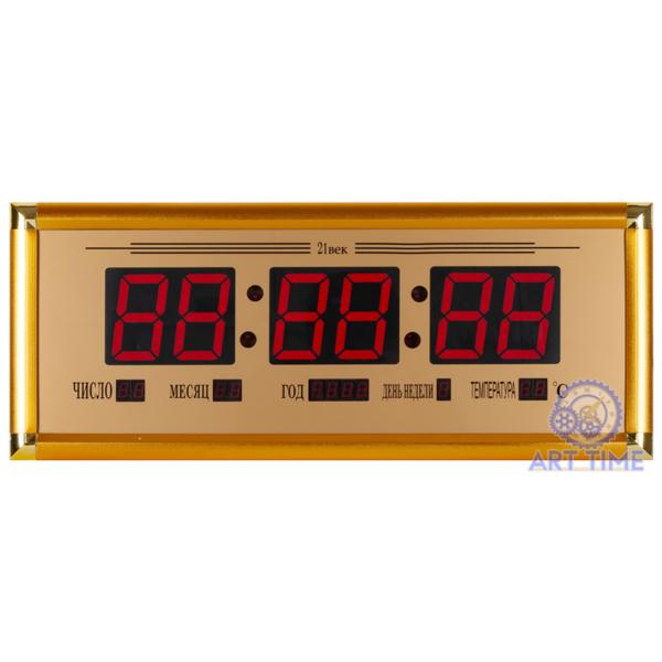Электронные настенные часы 21 век в золотом багете 23х58см ( дата, время, температура) 03 ОТ BM