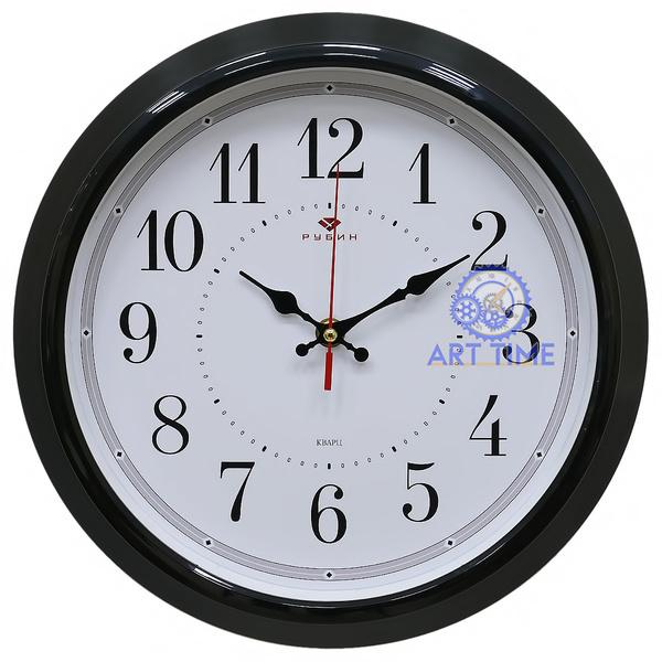 Настенные часы Рубин круг d=30см, корпус черный Классика 3024-123B